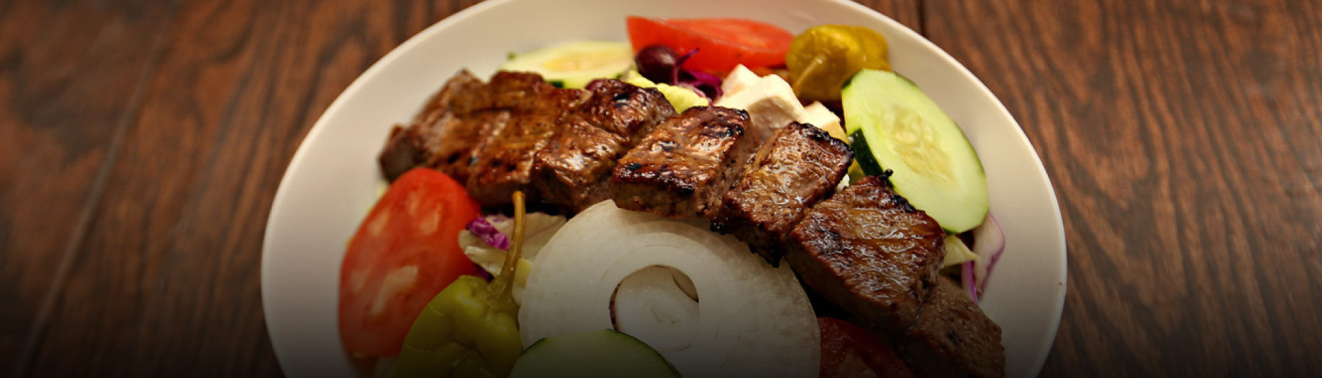 Fresh and delicious grilled kabob salad from Moby Dick