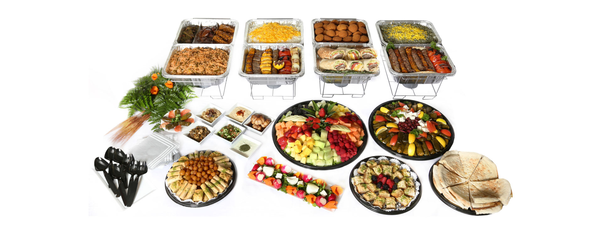 Moby Dick catering kabob platter, fruit platter, and dessert platter
