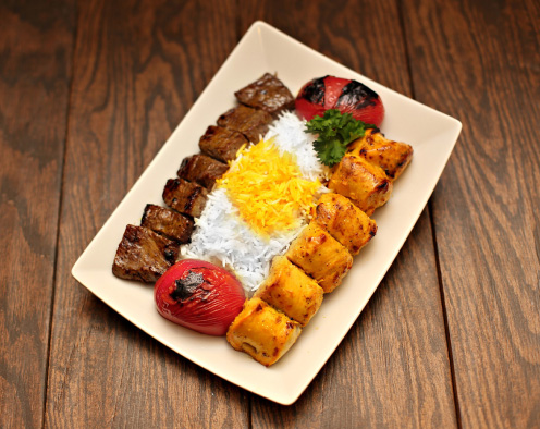 Moby Dick's famous kabob platter